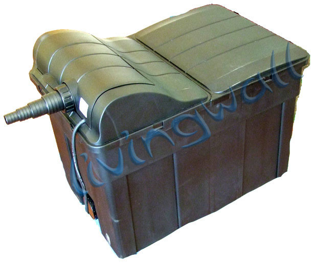 Pond gravity filter 90l with integrated uv lamp 18w uvc for Pond filter box with uv light