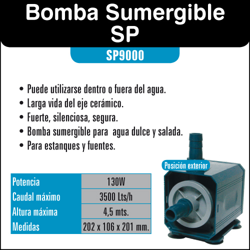 Bomba de agua 3500l h resun sp9000 bomba para estanques y for Bombas de agua para estanques de peces