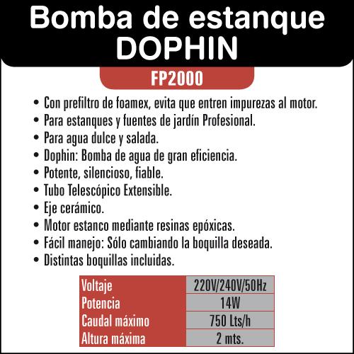 Bomba de agua resun dophin fp2000 bomba para fuentes y for Bomba para fuente de jardin
