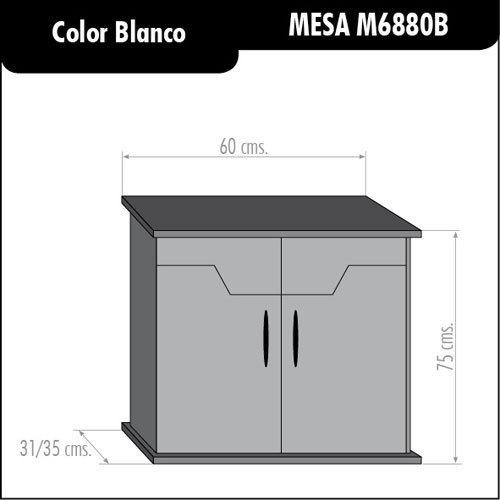 Mesa mueble acuario color blanca 60cm madera aglomerado for Mueble acuario
