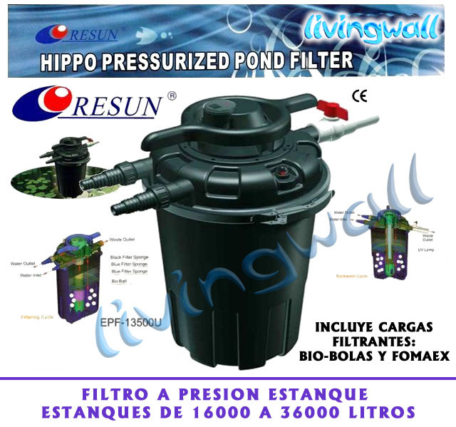 Filtro a presi n estanques hippo13500 sistema de contralavado for Luz uv para estanques