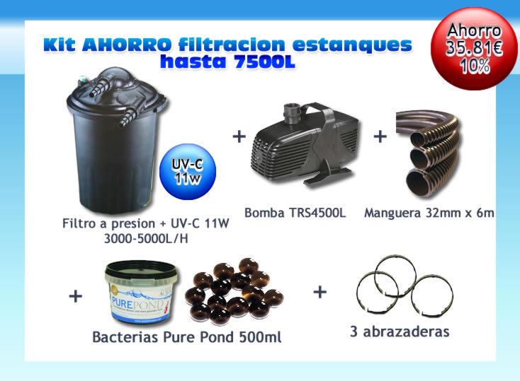Kit filtro presion pf30 uv c 11w bomba manguera y bacterias for Estanque agua 500 litros