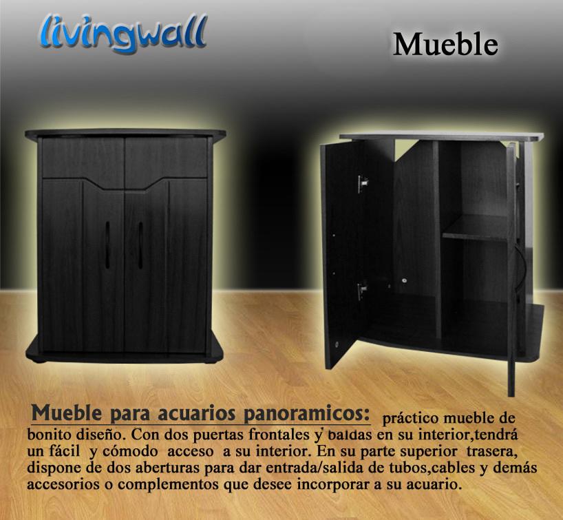 Mueble para acuarios panoramicos 62cm negro adorne su salon for Mueble para acuario