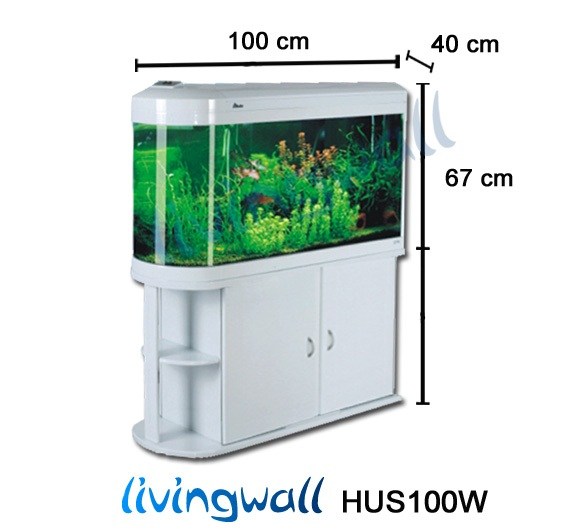Acuarios panor mico 100 cm y 210 litros livingwall hus100w for Acuario 90 litros