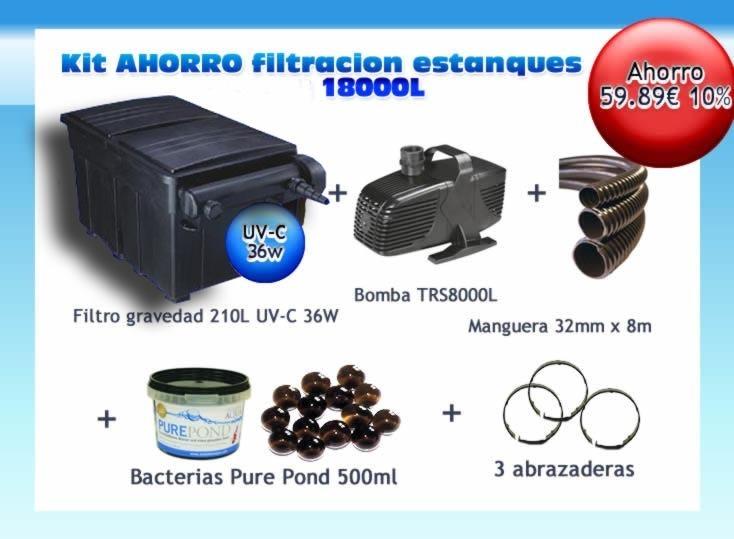 Filter kit uv c 36w pump hose bacteria ponds 18000l offert for Pond filter bacteria