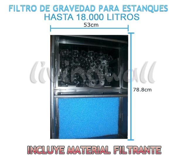 Filtro de gravedad caja estanques 210l l mpara uv 36w for Filtro para estanque