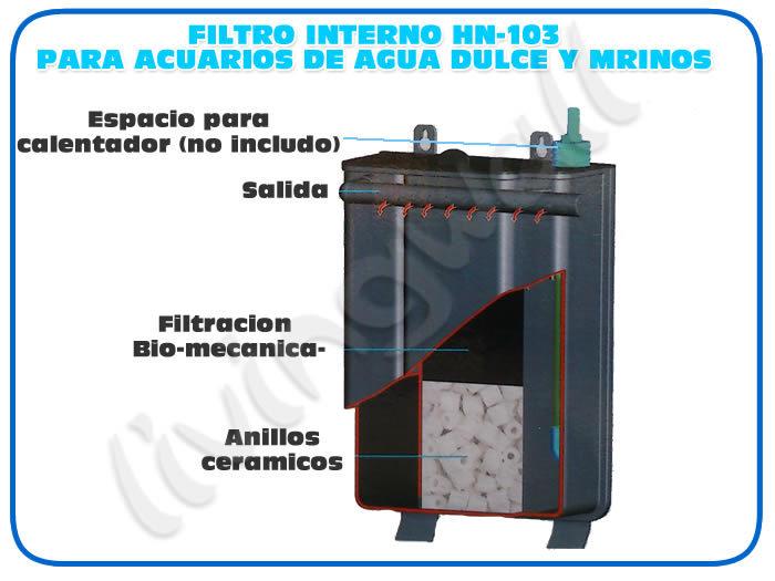 Filtro acuario mochila HN-103 filtracion interna